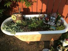 FAIRY GARDEN in a recycled TUB!