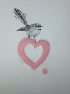 """Artist Krystal Lynn """"I Piwakawaka"""" pen drawing with acrylic Clare Stone, New Tattoos, I Tattoo, Tattoo Ideas, Tattoo Designs, Nz Art, Pastel Drawing, Moana, Krystal"""