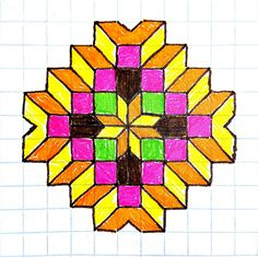 Barn Quilt Designs, Barn Quilt Patterns, Card Patterns, Quilting Designs, Graph Paper Drawings, Graph Paper Art, Art Drawings Sketches, Geometric Drawing, Mandala Drawing