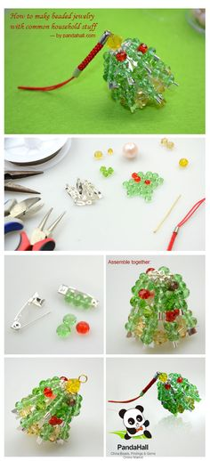 Learn make beaded jewelry easily with some abandoned or idle stuffs; here I have posted a unique guide to making a piece of delicate Christmas tree charm with household safety pins and Abacus Glass Beads.