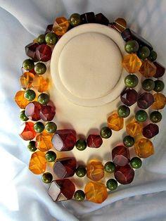 Gorgeous Vintage Bakelite Three-Strand Multicolor Necklace