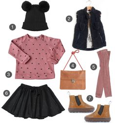 Can replicate with pink Ruum top, pink leggings, pleather skirt, brown boots, just need a nice vest