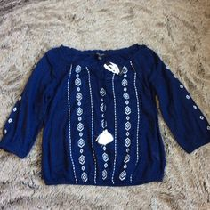 cotton embroidered blouse Beautiful cotton embroidered blouse. 3/4 sleeve Nine West Tops Blouses