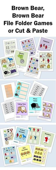 The printable file folder games include:  Numbers   Ordinal Numbers  Skip Counting  Telling Time  Place Value  Patterns  Money