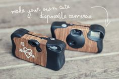 make your own cute disposable camera ...this is such a easy good idea (maybe for a wedding?)