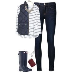 Navy stripes, vest & hunter boots by steffiestaffie on Polyvore featuring MANGO, J.Crew, Frame Denim, Hunter, MICHAEL Michael Kors, Marc by Marc Jacobs and Accessorize