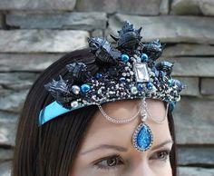 Black mermaid crown seashell crown gothic by Reallifefairytales