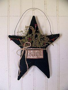 Country Primitive Black Blessings Hanging by CherylsPrimkeepsakes, $15.99