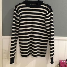 "ASOS Brand Striped Sweater Still in Good Condition! Minor Flaw: Semi collects lint. Size Small - Approx 24.5"" long from shoulder to hem - Dark blue almost like black and white stripes - Thick material ASOS Sweaters Crew & Scoop Necks"
