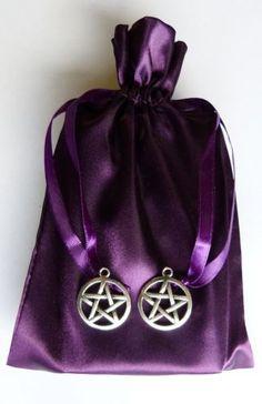 Silver-Pentagram-Charm-Purple-Satin-Tarot-Bag