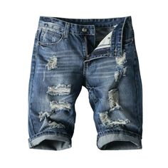 Want skull tops, hoodies, leggings and more Summer New Fashio... add to any wardrobe http://rebelstreetclothing.com/products/summer-new-fashion-hole-men-jeans-shorts-denim-short-slim-fit-ripped-jeans