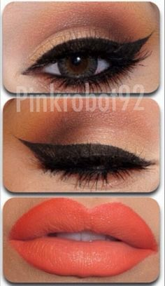 #tangerine lips #makeup + cat liner