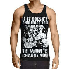 9c70a20cda14c0 Dragon Ball Goku Super Saiyan Motivation Quotes Tank Top