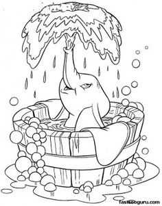 Coloring sheet of Disney Characters Dumbo taking bath - Printable Coloring Pages For Kids
