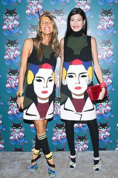 Anna Dello Russo and Giovanna Battaglia in the same Prada Spring 2014 dress at Miu Miu's Sparkle and Light party in New York.