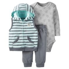 Just One You™Made by Carter's® Baby Boys' 3 Piece Hooded Vest Set - Grey/Light Blue