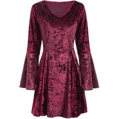 Bell Sleeve Velvet Fit and Flare Dress ($19) ❤ liked on Polyvore featuring dresses, flared sleeve dress, v neck velvet dress, purple dress, v neckline dress and velvet dress