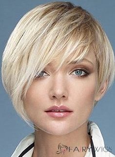 Human Hair Capless Blonde Short Straight Wigs 10 Inch