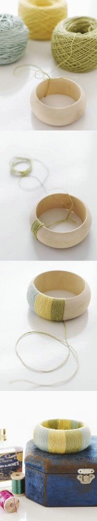 #DIY yarn bracelet. Love the look!