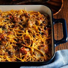 Taco Spaghetti Recipe -I came up with this kid-friendly Southwestern recipe one afternoon when I was using up leftover spaghetti and ground beef. When I'm lucky enough to have extra time, I make two batches and freeze one. —Johanna Van Ness, Wichita, KS