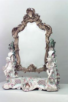 Continental German  Austrian mirror dressing table mirror porcel