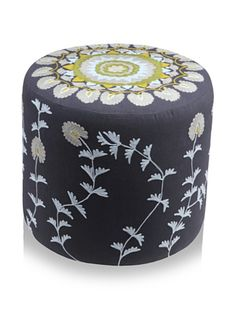 60% OFF Better Living Collection Moonriver Round Ottoman (Charcoal Grey/Aqua)