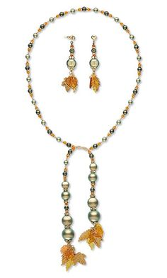 Lariat-Style Necklace and Earring Set with SWAROVSKI ELEMENTS, Acrylic Charms and Seed Beads