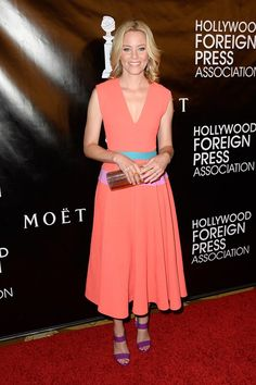 Elizabeth Banks in Roksanda paired with a Jimmy Choo clutch attends the Hollywood Foreign Press Association Banquet.