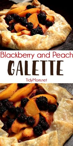 Make the most of those summer blackberries and peaches! Blackberry and Peach Galette is a beautiful, and simple rustic dessert that's perfect for summertime! Use peaches, apricots, or any other beautiful stone fruit and berries for this rustic easier-than-pie dessert. Print the full recipe at TidyMom.net