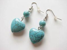 Heart Turquoise Earrings Dangle Gemstone Silver Plated Ear Wire