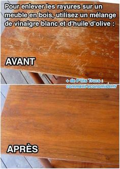 The best DIY projects & DIY ideas and tutorials: sewing, paper craft, DIY. Ideas About DIY Life Hacks & Crafts 2017 / 2018 Comment supprimer rayures blanches sur meuble en bois Plus -Read Tips & Tricks, Natural Cleaning Products, Home Hacks, Painting Tips, Diy Projects To Try, Clean House, Home Deco, Good To Know, Cleaning Hacks