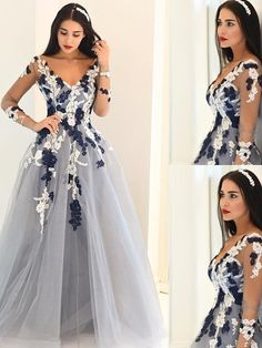 Cute Prom Dresses, 2019 A-Line/Princess V-Neck Long Sleeves Applique Tulle Floor-Length Dresses Evening Dress That Dresses Navy Blue Prom Dresses, Cute Prom Dresses, V Neck Prom Dresses, Prom Dresses For Sale, Tulle Prom Dress, Junior Bridesmaid Dresses, Formal Evening Dresses, Tulle Lace, Satin Dresses