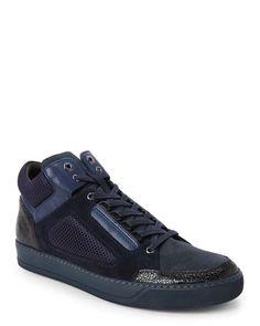 Lanvin Navy Mixed Media Mid Sneakers