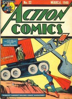 """Action Comics """"Superman: Europe at War"""" March No. 22 by Siegel & Shuster. Marvel Dc Comics, Superman Action Comics, Batman And Superman, Superman Family, Dc Comic Books, Vintage Comic Books, Comic Book Covers, Vintage Comics, Comic Art"""