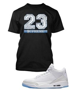 74219320b030 Supreme 23 Graphic T Shirt to Match Air Jordan 3 Pure White Shoe