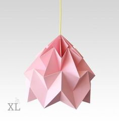 Snowpuppe Moth XL paper origami lamp pink with yellow cord