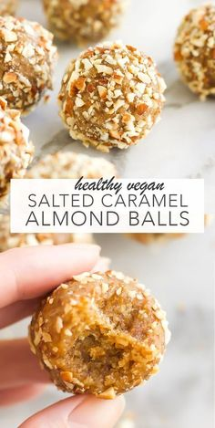 Vegan Salted Caramel Almond Balls | these are a healthy and gluten-free clean eating snack.To make these, you blend together flaxseeds and hemp seeds, with oats and almonds. Add in medjool dates which brings the caramel flavour and a fudge like texture. Roll the mixture into balls and coat in roasted almonds pieces! #vegan #snack...