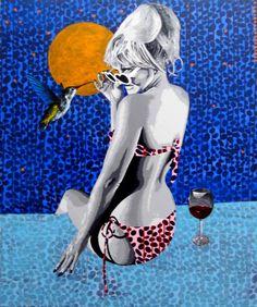 """Saatchi Art Artist raquel gralheiro;  Slikarstvo, """"De Mao beijada (enostavno poljubil)"""" #art"""