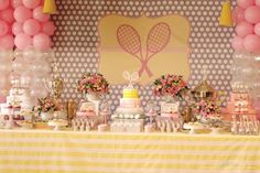 Dessert table at a Tennis Birthday Party via Kara's Party Ideas   Kara'sPartyIdeas.com