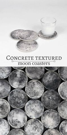 Gorgeous textured concrete moon coasters. They are so pretty. I want them! #commissionlink #concrete #cement #coasters #moon #moonphases #homedecor