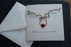 Handmade Christmas Card - Reindeer Christmas Card - for mummy, daddy can be personalised (with jute and button detailing)