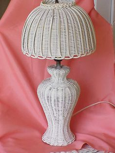 Vintage Cottage White Wicker Table Lamp with Wicker Shade White Wicker Furniture, Wicker Table, Wicker Baskets, Vintage Furniture, Table Lamp, Woven Chair, Lamp Cover, Hanging Lamps, Art N Craft