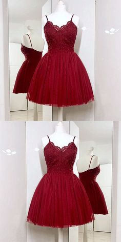 Spaghetti Straps A-Line Burgundy Tulle Short Prom Dress with Lace by  MeetBeauty 64ca0810e