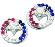 Sapphire, Ruby and Diamond Round Motion Earrings
