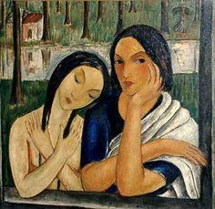 dos-mujeres-y-paisaje.~~~Victor Manuel García -- La Habana 1897-1969