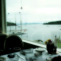 """Day 1 """"outside"""" Looking from the dining room in the Bar Harbor Inn towards Frenchman's Bay, Acadia National Park (Maine, the way life should be) #PhotoADayAug"""