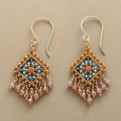 """TABRIZ EARRINGS--Petite and perfectly intricate—hand-beaded earrings by Miguel Ases shimmer with Swarovski crystals and Japanese Miyuki beads. 14kt gold-filled wires. USA. Exclusive. 1-5/8""""L."""