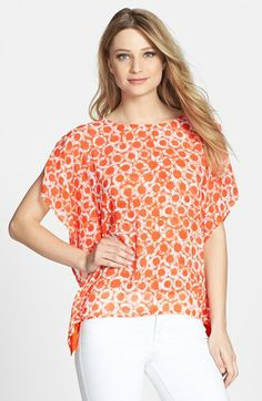 MICHAEL Michael Kors Flutter Side Mixed Media Top available at #Nordstrom