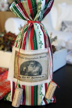 Christmas Wine Bottle Fabric Gift Bag