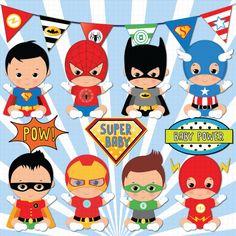 Piel morena superhéroe bebé clipart Super bebé bebé los
